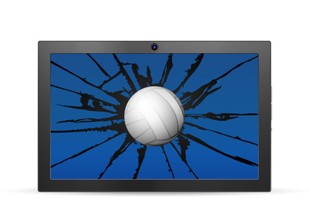 palmtop computer: Cracked tablet volleyball  on a white background. Vector illustration. Illustration