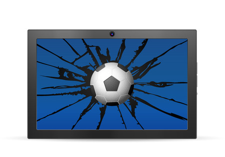 Cracked tablet soccer  on a white background. Vector illustration.