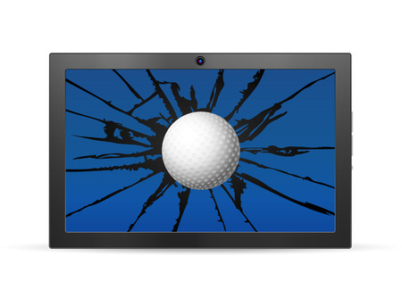 palmtop: Cracked tablet golf  on a white background. Vector illustration.