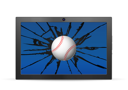palmtop computer: Cracked tablet baseball  on a white background. Vector illustration.