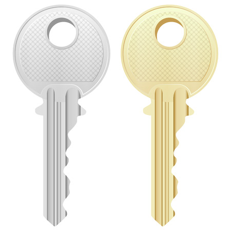 golden key: Key on a white background.
