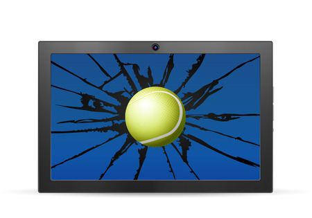 Cracked tablet tennis  on a white background. Vector illustration.