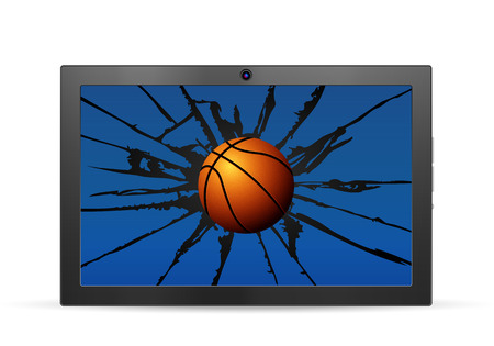 Cracked tablet basketball  on a white background. Vector illustration. Illustration