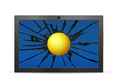 Cracked tablet handball  on a white background. Vector illustration.