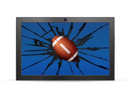 Cracked tablet american football  on a white background. Vector illustration.