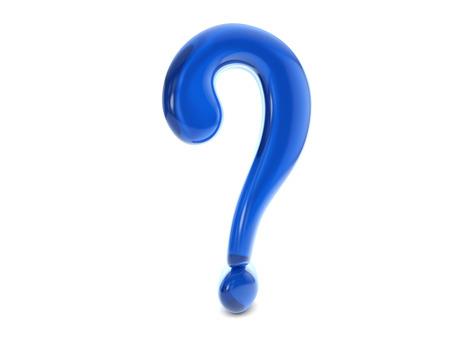 interrogative: Azul s�mbolo de la pregunta de globo sobre un fondo blanco.
