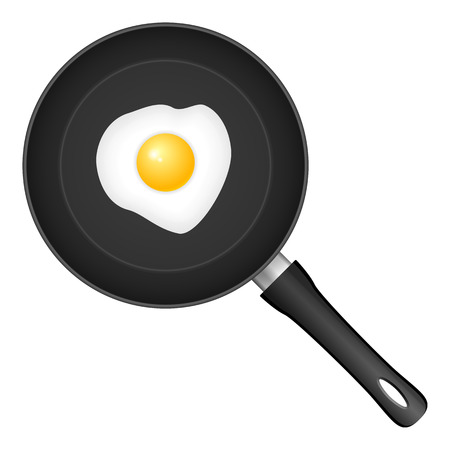 frying: frying pan and egg Illustration