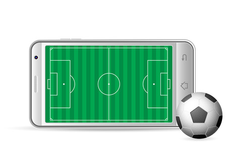 gsm phone: Smart phone soccer on a white background. Vector illustration.