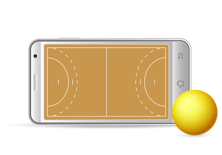 gsm phone: Smart phone handball on a white background. Vector illustration.
