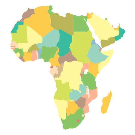 frontier: political map Africa on a white background. Illustration