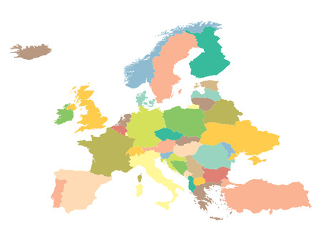 political map Europe on a white background.