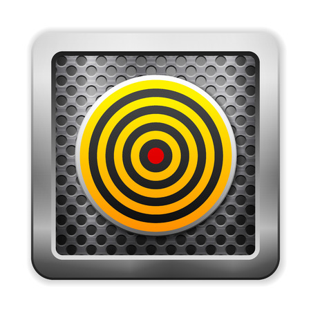 stainless steel sheet: Metal grid icon with target on a white background.