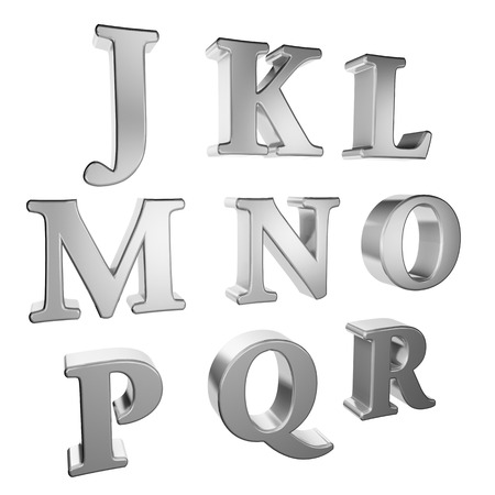 r p m: Silver alphabet J to R on a white background.
