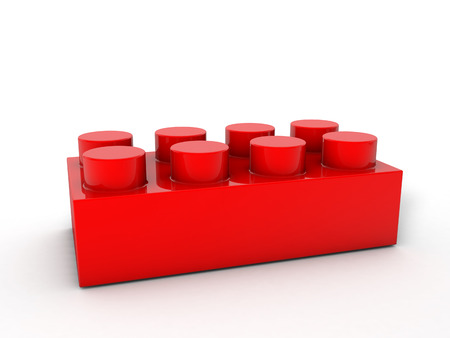 building bricks: Red lego block on a white backgroind.