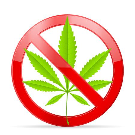 Prohibition marijuana symbol on a white background.