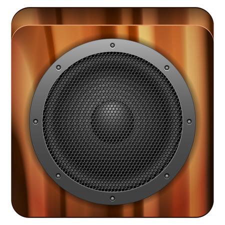 loud speaker: Wooden sound speaker on a white background.