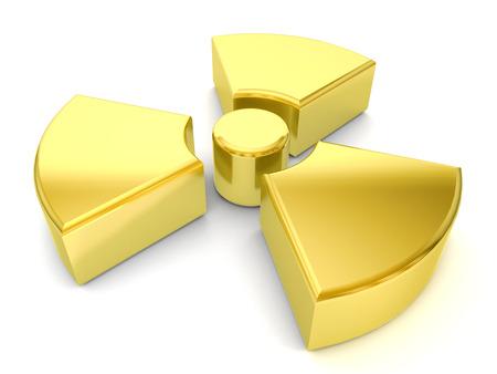 radiacion: oro s�mbolo de la radiaci�n sobre un fondo blanco. Foto de archivo