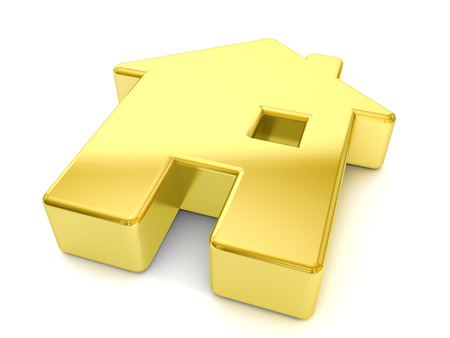 gold house: gold house symbol on a white background. Stock Photo