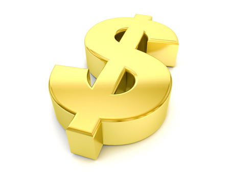 metal sign: gold dollar symbol on a white background.