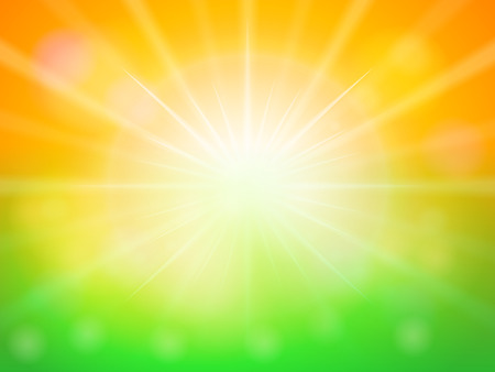 sunspot: Orange green abstract spring background. Illustration
