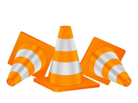 naranja color: Conos de tr�fico sobre un fondo blanco.