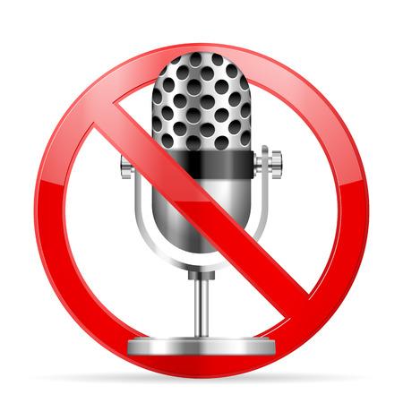 interdiction: Interdiction symbole du microphone sur un fond blanc.