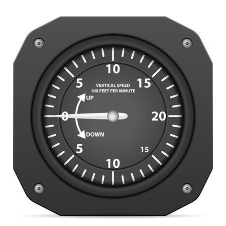 cockpit: Flight instrument variometer on a white background.