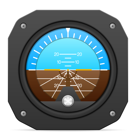 instrument panel: Flight instrument attitude indicator on a white background. Illustration