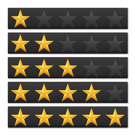 rating: Golden stars rating on a white background. Illustration