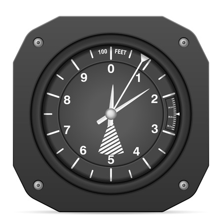 Flight instrument altimeter on a white background.