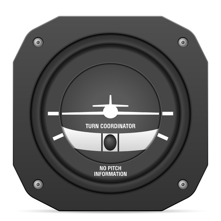 cockpit: Flight instrument turn coordinator on a white background.
