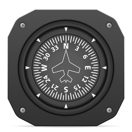 heading: Flight instrument heading indicator on a white background. Illustration
