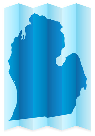 frontier: Michigan map on a white background. Vector illustration. Illustration