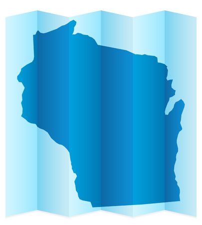 frontier: Wisconsin map on a white background. Vector illustration.