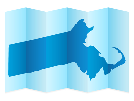 frontier: Massachusetts map on a white background. Vector illustration.
