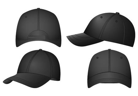 Baseball caps set on a white background. Illustration