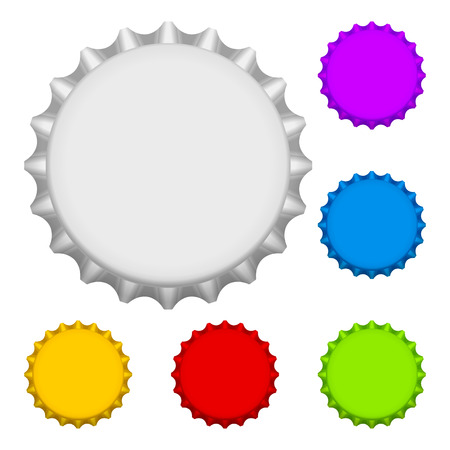 Bottle cap set on a white background.