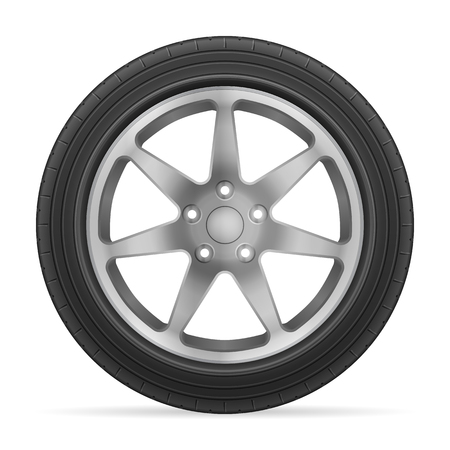 alloy wheel: Car wheel tire on a white background.