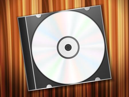 wooden desk: Compact disc and mouse on a wooden desk. Vector illustration. Illustration