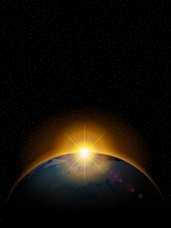 morning sunrise: Planet with shiny sunrise in black space.