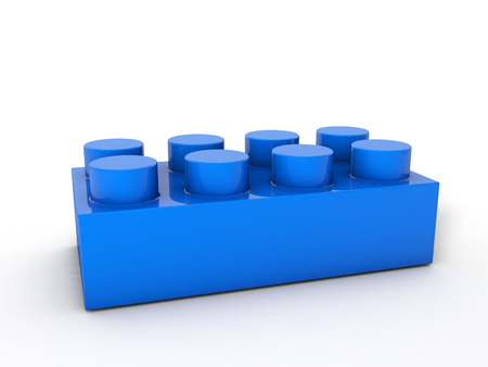 Blue lego block on a white background.