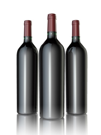 wine glasses: Red wine bottles on a white background.