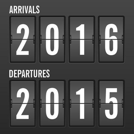 departures: Arrivals and departures year flip clock. Illustration