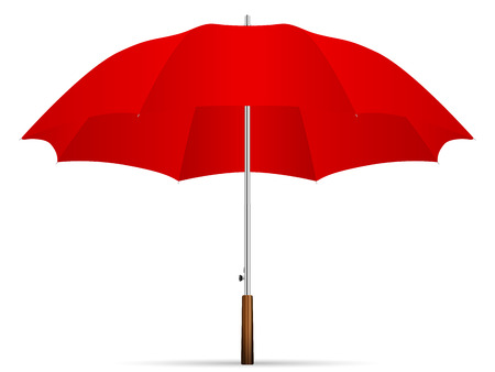 red umbrella on a white background. Vector illustration.
