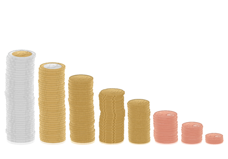 euro coins: Euro coins stacks on a white background. Vector illustration.
