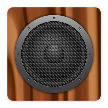 loud speaker: Wooden sound speaker on a white background.