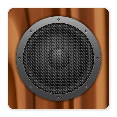 speaker: Wooden sound speaker on a white background.