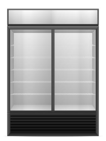 vertical fridge: Display fridge on a white background. Illustration