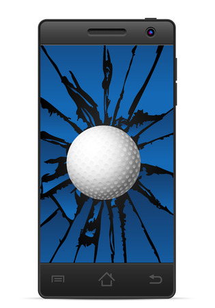 gsm phone: Cracked smart phone golf  on a white background. Vector illustration. Illustration