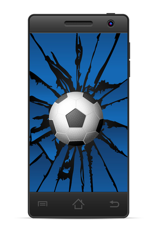 gsm phone: Cracked smart phone soccer  on a white background. Vector illustration. Illustration